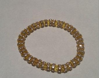 Hand made Swarovski bracelet. Woman's/ girls braclets  Christmas present, yellow bracelet, braclets. Birthday gift.