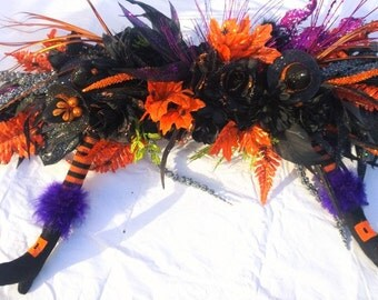 Amazing Halloween Witch Faux Floral Table Candelabra Centerpiece