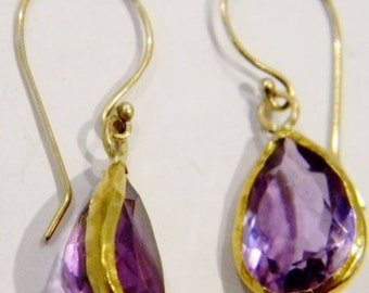 22k Solid Gold  Amethyst Earrings
