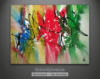 Abstract Painting Blue Yellow Red Green with Black and White Splatter Original Art