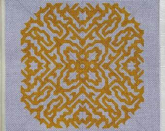 "Handpainted Needlepoint Canvas, Symmetric Design, Yellow, 10""x10"""