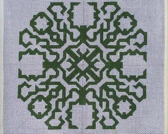 "Handpainted Needlepoint Canvas, Symmetric Design, Green, 10""x10"""