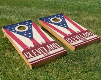 Cleveland State Flag Skyline Cornhole Board Set