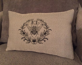 Personalized Monogrammed Napoleonic Bee Pillow/Napoleon Bee Pillow Embroidered/French Country