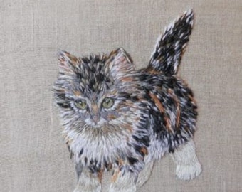 Sveta Raskina's 'Kitten' (2011). Hand embroidery on linen base - Russian art, embroidery