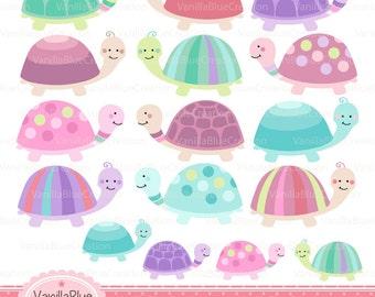 Turtle clipart, cute turtle clipart, baby turtle clipart, birthday invitation, birth announcement