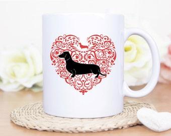 Dachshund Mug - Dachshund Heart Mug - Valentines Day Dachshund Mug - Doxie Mug - Dachshund Gift