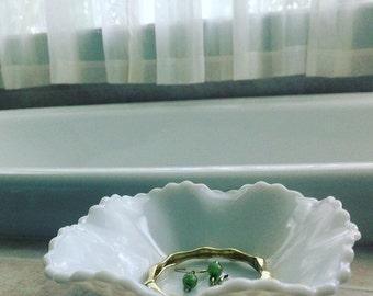 Hobnail Milk Glass Jewelry Dish