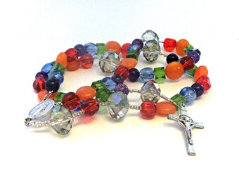 Multicolored Glass Bead Rosary