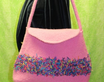 felted pink purse-handmade with flair