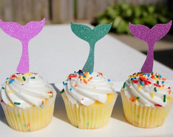 Set of 12 Glitter Mermaid Tail Cupcake Toppers