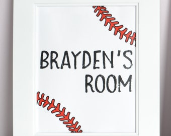 Baseball Room Sign Personalized Name Print Bedroom Art