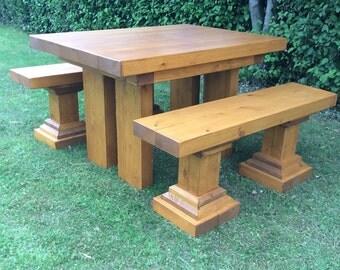 Wooden Garden Table and Bench Set, Garden Furniture, Garden Table, Patio Furniture