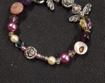 Mixed materials elastic Angel Bracelet