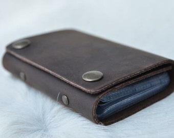 Credit Card Organizer - Leather Card Holder - Dark Brown Leather