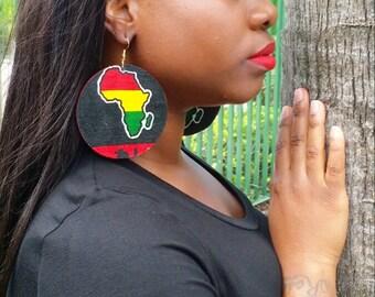 African Print Wood Earrings