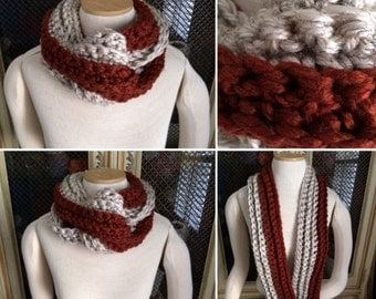 Hand Crocheted Infinity Scarf in Rust and Wheat - Ready To Ship