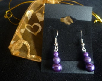 Silver plated drop faux pearl earrings