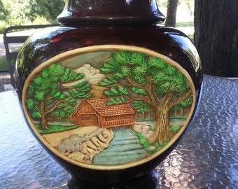Large Asian inspired hand painted Ginger Jar