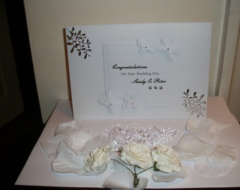 Handmade Personalised Wedding/ Anniversary card with presentation box.