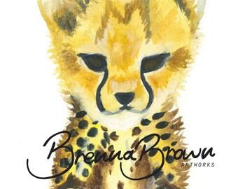 Cheetah Nursery Watercolour Print