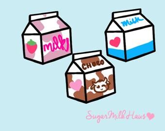 Kawaii Milk Carton Clip Art