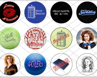 12 One Inch Round Images - River Song from Doctor Who // For Bottlecap Jewelry, Scrap Booking, and Other Crafts