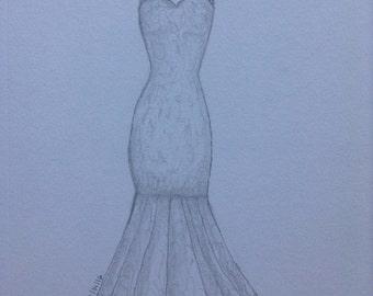 Sketch of a wedding dress.