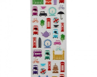 London themed stickers five variations