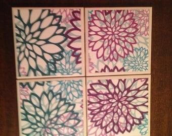 Large flower print tile coaster set