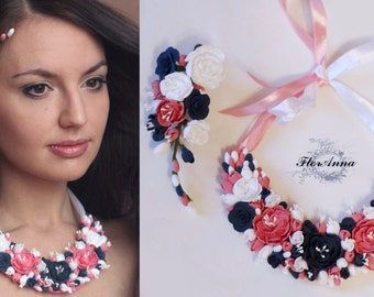 flower necklace, flower earrings, flower hair clip, gift for her, white necklace, red bridal jewellery, black hair accessory, white hair