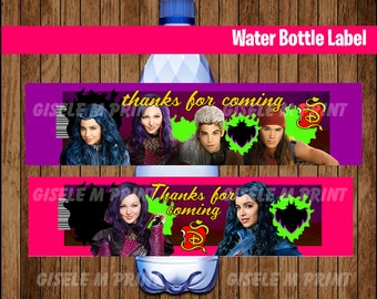 Descendants Water Bottle Label, Printable Descendants Water labels, Descendants party Water instant download