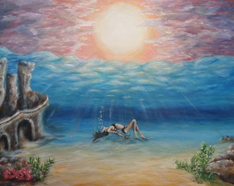 painting,sea, water, acrylic, pictures,decorations, image,hand made,gift, woman