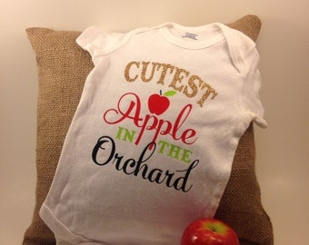 Cutest apple in the orchard baby onesie