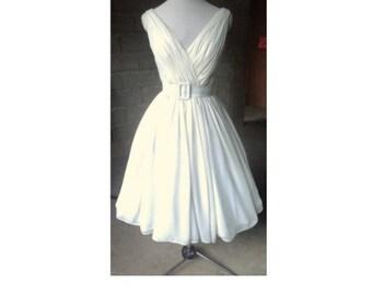 Elegant 50s Wedding Dress Elizabeth Taylor Chiffon Tea Length Prom Bridesmaids Handmade RockabILLY SILK
