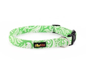 Dog Collar and Matching Lead available - Green Floral Cotton Canvas - Designed by RichPaw - Green Dog Collars - Puppy and Dog