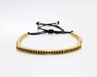 Mr gold plated, bracelet with Zircons