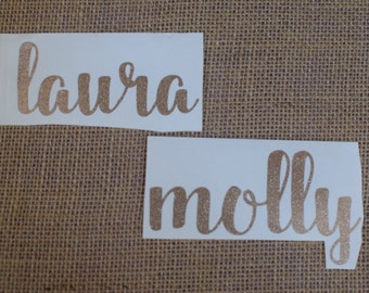 Vinyl Name Decal - Personalized Name Sticker - perfect for wine glasses and bridesmaids gift personalization! Free Shipping!