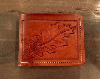 Minimalist Wallet, Leather Wallet Oak Leaf tooled, made in USA