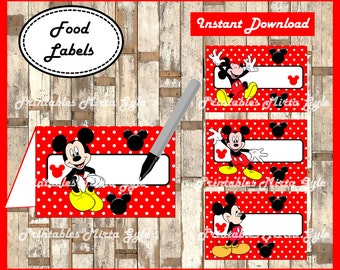 Mickey Mouse Food labels, printable Mickey party food tent cards , Mickey Mouse tent cards