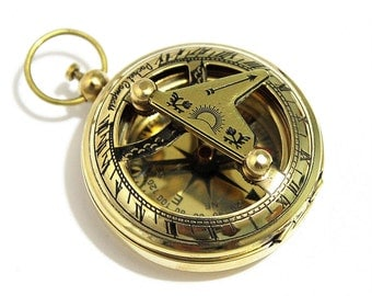 Brass Push Button Direction Sundial Compass - Pocket Sundial Compass-