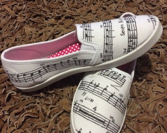 Sheet music hand dyed shoes
