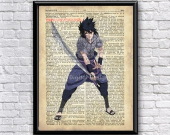 Sasuke Poster Typography Dictionary Text Art Word Art 5x7 8x10 11x14 12x16