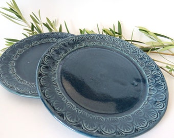 Blue Porcelain Plate with Stamped Detail