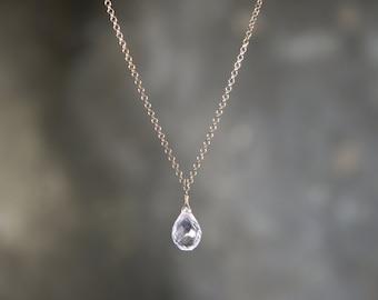 Necklace 925 Sterling silver plated rose gold and Briolette rose Quartz