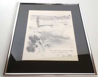 "1977 Don Davey Lithograph - ""Fog Over the Golden Gate San Francisco"" - Framed"