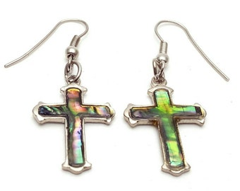Silver and Colorful Holographic Cross Earrings Vintage from the 90s Madonna