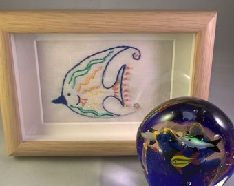 Father's day present - Angel fish/ tropical fish/fishing/ sealife/ coral reef  hand embroidered framed picture
