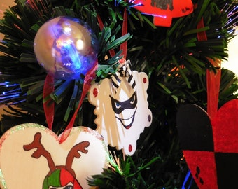 Set Of 4 Handmade Harley Quinn Christmas Tree Decorations