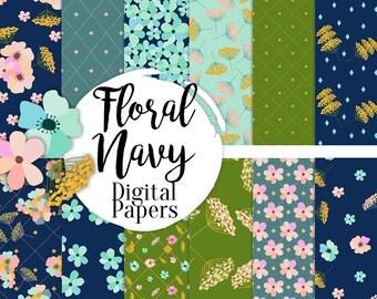 BUY 2 GET 1 FREE, Floral Navy digital paper pack, scrapbook paper, printable background, 12 jpg, 300 dpi